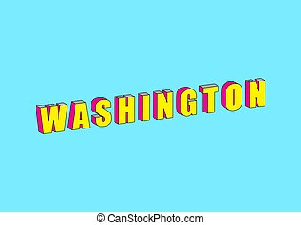 Washington text with 3d isometric effect