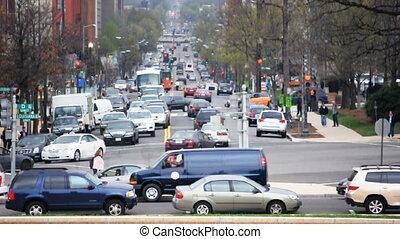 Washington Traffic - Car and Pedestrian Traffic on a...