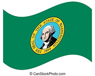 Washington USA State Flag Waving Vector Illustration