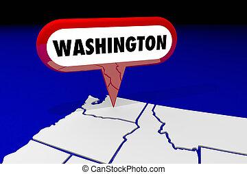 washington, wa, carte état, épingle, emplacement, destination, 3d, illustration