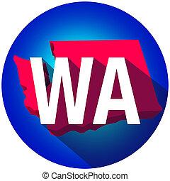 Washington WA Letters Abbreviation Red 3d State Map Long Shadow Circle