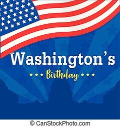 washington's birthday vector background or banner graphic
