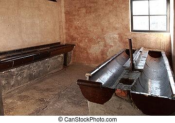 Washroom block, Auschwitz concentration camp, Poland