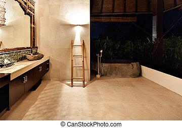 washroom, het baden, bomen, buiten, bedekt, kuip
