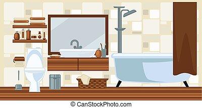 Washroom interior design in brown colors flat illustration