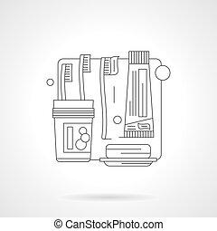 Washrooms accessories line vector illustration