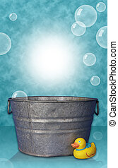 Washtub with Rubber Duck and Bubbles for use as Digital background prop