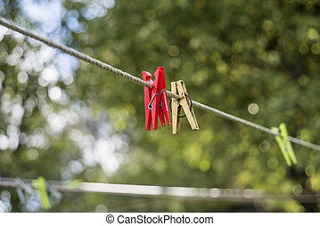 wasknijper, op, de, clothesline., zonnig, zomer, day., abstract, foto