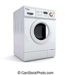 wasmachine, op wit, vrijstaand, achtergrond.