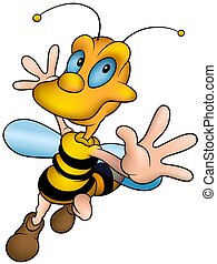 Happy little wasp - Wasp 13 - detailed illustration, little...