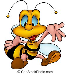 Wasp 19 smiling - Highly detailed and coloured cartoon...