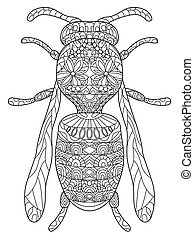 Wasp Coloring vector for adults