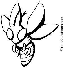 Wasp Fly Cartoon Line Drawing