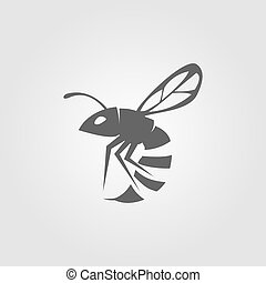 Wasp insect icon vector isolated on white background