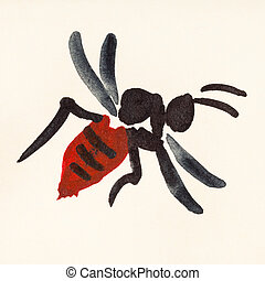 wasp painted on cream colored paper - training drawing in...
