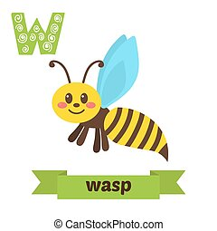 Wasp. W letter. Cute children animal alphabet in vector. Funny cartoon animals