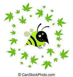 wasp with hemp leaves, cannabis. Cartoon logo on a white background. Isolated vector