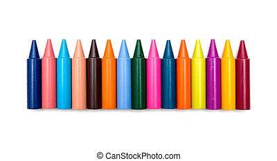 wassen crayons, op wit, achtergrond