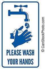 wassen, handen, jouw, meldingsbord