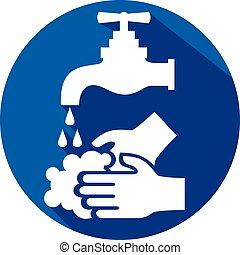 wassen, pictogram, jouw, plat, handen, alstublieft