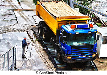 wassen, vrachtwagen