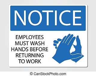 wassen, werknemers, meldingsbord, most, handen
