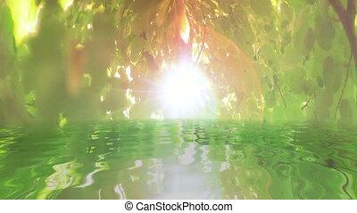 wasser, baum, grüne blätter, surreal, zurückwerfend