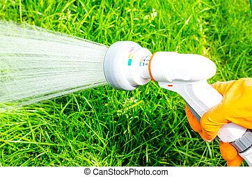 wasser, bewässerung, saugschlauch, buechse, hand