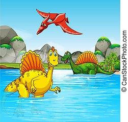 wasser, dinosaurier, prähistorisch, szene