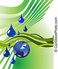 wasser, erdeglobus, tropfen