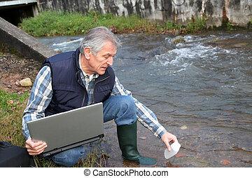 wasser, hydrobiologist, pruefen, qualität