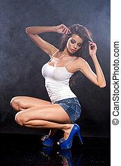 wasser, junger, photo., studio, woman., sexy