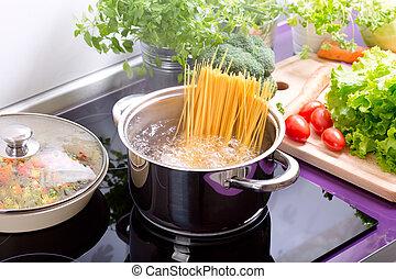 wasser, kochen, spaghetti, pfanne, herd