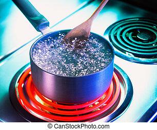 wasser, kochenden topf, kochherd