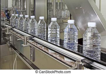 wasser, linie, produktion, abgefüllt, mineral