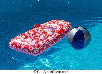 wasser, p, kugel, schwimmender, airbed