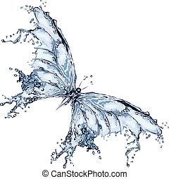 wasser, papillon, spritzen