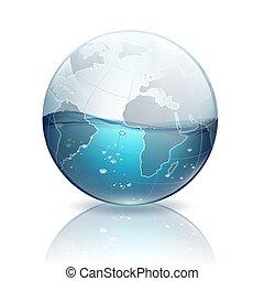 wasser, planet, innenseite, erde