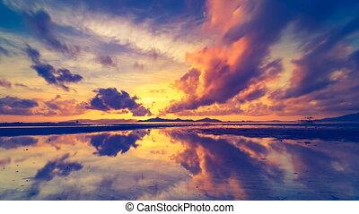 wasser, reflektiert, abend, wolkenhimmel, wasserlandschaft,...