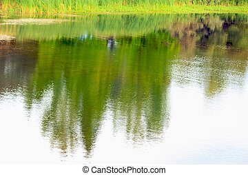 wasser, reflexionen, kleine wellen
