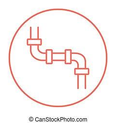 Wasser, rohrleitung, linie, icon. Rohrleitung, beweglich,... Vektor ...