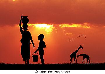 wasser, tragen, frau, sonnenuntergang, afrikanisch