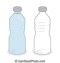 wasser, voll, flasche, leerer