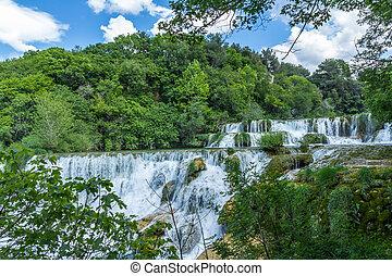 wasserfälle, an, krka, nationalpark, croatis