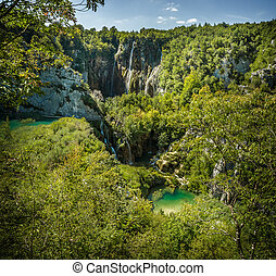 wasserfälle, in, nationalpark, plitvice, seen
