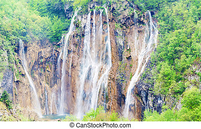 wasserfälle, in, plitvice, seen, nationalpark, kroatien, horizontal, kugel