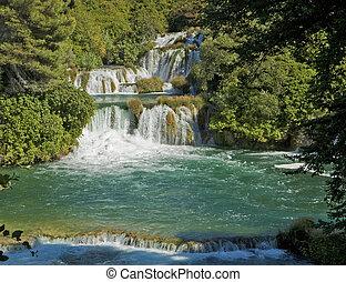 wasserfälle, kroatien, national, krka, park