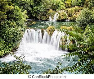 wasserfälle, national, krka, park, kroatisch