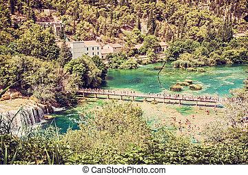wasserfälle, schoenheit, viele, krka, touristen, filter, fluß, kroatien, schwimmender