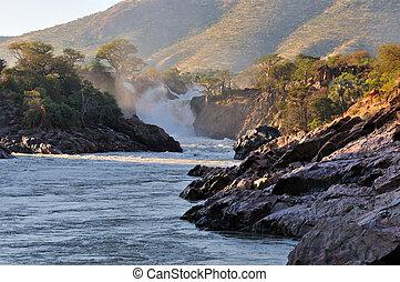 wasserfall, epupa, namibia, sonnenaufgang